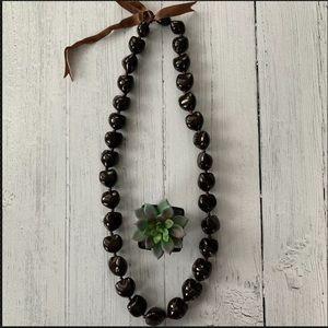 "Jewelry - Kukui Nut Hawaii Lei Hand Tied Necklace 35"""